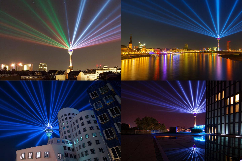 Nii särab 400000W jagu prožektoreid. Teletorni paigutati paar lisavalgustust, mis on pakkunud sünnipäeva puhul viimaste päevade hilistel õhtutundidel taevas ilusat vaatemängu. ©Fotod: WDR.de; Tim S.
